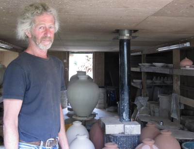Svend in his pottery at Duckpool Cottage